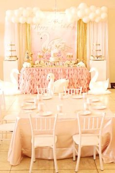 Feast your eyes on this stunning pink swan birthday party! The dessert table is gorgeous! See more party ideas and share yours at CatchMyParty.com #catchmyparty #swans #swanparty #girl1stbirthdayparty