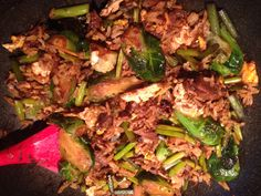 Garlic scape, asparagus, Brussel sprout, buffalo stir fry. Stir Fry, Preserves, Asparagus, Buffalo, Fries, Garlic, Beef, Meals, Recipes
