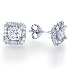 120 carats Natural Princess Cut Diamond Stud Earrings by ldiamonds, $1686.00