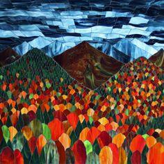 2.+Kasia+Polkowska+Vermont+Autumn+Stained+Glass+Mosaic+Landscape.jpg (640×640)