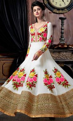 Buy White Floor Touch Designer Anarkali Suit ( SKU Code : SUEKKHL2212 ) online at Ishimaya Fashion.