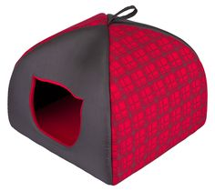 Hobbydog Igloo House for Cat, Size 3, Red with Grid
