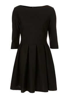 Black Pleated Seven's Sleeve Skinny Cotton Blend Dress.  Simple black dress.  Could easily dress it up.