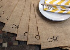 Burlap monogram EMBROIDERED Personalized Embroidered Placemats - set of 6