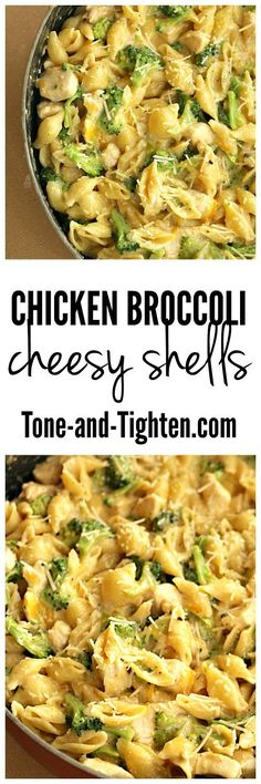 Chicken Broccoli Cheesy Shells Skillet Healthy Dinner Recipe on Tone-and-Tighten.com