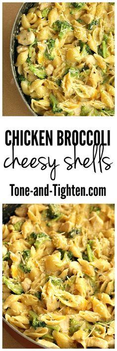 Chicken Broccoli Cheesy Shells on Tone-and-Tighten.com