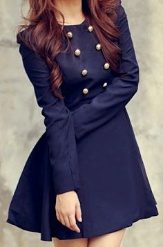Navy military style button dress.  Could not love this more. (reminds me of Blair Waldorf)