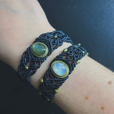 Macrame bracelets Dark blue with labradorite stone Black with Moonstone Original Linhasita Yarn and Golden Brass Beads Micro Macrame, Macrame Bracelets, Messing, Labradorite, Brass, Blue, Jewelry, Dark Blue, Threading