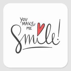 Simple yet Pretty You Make Me Smile Sticker Seal   Zazzle.com