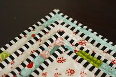 Black and white striped quilt binding