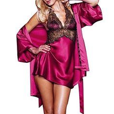 Burvogue Women Sexy Lingerie Pajamas And Robe Sets Nightwear Dress Silk  Robe Ladies Sleepwear Nightgown Sexy Gifts Valentine s Day Wife Honeymoon 9f2cccf07