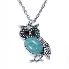 Owl Pendant Blue Turquoise Crystal Necklace Long Chain Rhinestone Jewelry Free…