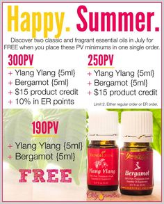 Young Living Essential Oil's July 2014 Promo.  Repin this and click to read more details.  Order your essential oils with ID# 1488788. For more great info on Young Living therapeutic grade Essential Oils, follow my blog at www.oilytreasures.com and join me on Facebook at https://www.facebook.com/OilyTreasures #youngliving #essentialoils #oilyfamilies #julypromo