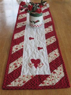 Valentine Heart Quilted Table Runner