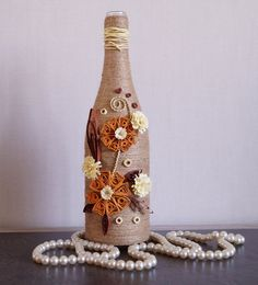 bottle decor, wine bottle decor, decorated wine bottles, home wine bottle decor, custom wine bottle, twine wrapped wine bottles, by InnArtShop on Etsy
