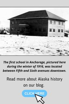 Learn about the history of the first school in Anchorage. The first school in Anchorage, pictured here during the winter of 1916, was located between Fifth and Sixth avenues downtown. #alaskahistory #anchorage