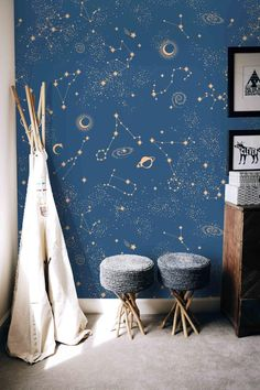 Removable Self Adhesive Mural Wallpaper - Constellations, Stars and Planets on Blue - Vinyl Peel and Stick Wallpaper, Night Sky Wallpaper