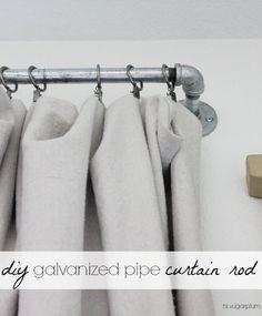 Hi Sugarplum | DIY Galvanized Pipe Curtain Rod -- great industrial look, especially for a boy's Room