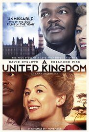 A United Kingdom (2016) Prince Seretse Khama of Botswana causes an international stir when he marries a white woman from London in the late 1940s.