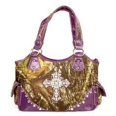 Handbags, Bling & More! Western Large Canvas Purple Camouflage Cross Rhinestone Purse : Camouflage Purses