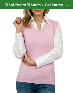 Wool Overs Women's Cashmere & Cotton V Neck Sweater Vest. You certainly won't be in the rough wearing our classic vee-neck cashmere and cotton sweater vest! The cozy softness of this relaxed fit sleeveless vee-neck sweater, is what our customers continue to rave about. Even on the chilliest of golfing days, the cotton and cashmere blend will keep you warm without hampering your style. This Wool Overs v neck sweater vest design is certainly smart enough to wear at the 18th hole!.