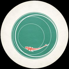 """""""Poisson Japonais"""" disc (Japanese goldfish) - Rotoreliefs by Marcel Duchamp (1935) : a set of six double-sided discs (20 cm diameter) which create 3D optical illusions when rotating on a turntable at 40-60 rpm"""