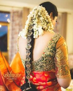 "Photo from Soulmate Weddings ""Meghana weds Nishanth"" album South Indian Wedding Hairstyles, Bridal Hairstyle Indian Wedding, Bridal Hair Buns, Bridal Hairdo, Indian Hairstyles, Bride Hairstyles, Hairdos, Hairstyle Ideas, Bridal Blouse Designs"