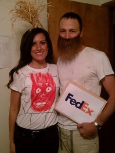 """""""Wiiiilsoooon!"""" Never be far from your beloved volleyball in this ultra-clever couples get-up based on the Tom Hanks film Castaway. The key to this costume is pretending you're on a deserted island, of course. See more at Katie in Kansas.  - WomansDay.com"""
