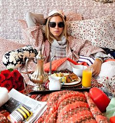 cozy breakfast in bed. with super chic sunglasses....naturally.