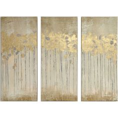 Madison Park Sandy Forest Gel Coat Canvas with Gold Foil Embellishment... ($84) ❤ liked on Polyvore featuring home, home decor, wall art, three piece wall art, three piece canvas wall art, 3 pc wall art, madison park home decor and canvas wall art
