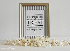 Reception Print  Popcorn Bar //  Popcorn Treat Sign by sweetsanity, $10.00