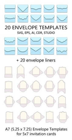 Set of 20 Envelope Templates x for invitation card > SVG, ai, CRD, eps > Cricut > Card Making Templates, Envelope Templates, Envelope Tutorial, Envelope Pattern, Origami Templates, Box Templates, Paper Craft Templates, Box Cards Tutorial, Wedding Templates