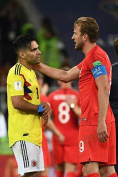 Colombia's forward Falcao is congratulated by England's forward Harry Kane at the end of to the Russia 2018 World Cup round of 16 football match...