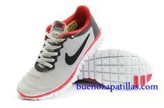 Hombre Nike Free 3.0 V2 Zapatillas (color : vamp - gris , en el interior - rojo , logotipo - negro ; sole - blanco)