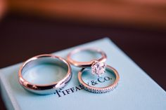 Engagement Ring + Wedding Bands from Tiffany & Co. || See the wedding on Style Me Pretty: http://www.StyleMePretty.com/canada-weddings/2014/02/20/key-themed-wedding-at-hotel-eldorado/  Kevin Trowbridge Photography