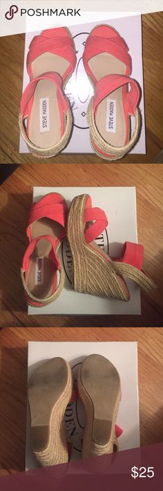 Steve Madden Coral Wedges, Size 8 Steve Madden coral wedges, worn once. They're adorable and pretty comfortable... just a little tall for me! Steve Madden Shoes Wedges