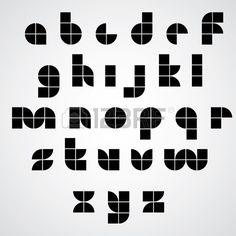 Num rique Style police g om trique simple fait avec des carr s des lettres modernes tuiles alphabet  Banque d'images