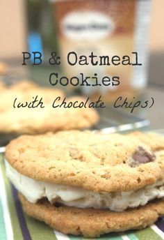 PB & Oatmeal Cookies (with Chocolate Chips) Filled with Vanilla Bean Ice Cream