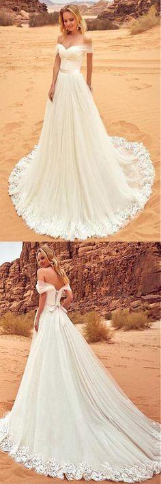 Elegant Off-the-Shoulder Sweep Train A-Line Tulle Ivory Appliques Wedding Dress #elegant #offshoulder #aline #bridal #wedding #ivory #appliques #okdresses