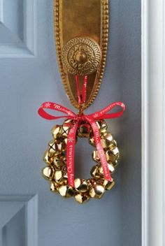DIY Jingle Bell Holiday Door Hanger