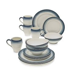 This Mikasa dinnerware combines the contemporary look of Swirl White with an ombre design for a unique mix and match look. Rich, double finish, glossy in the center with a ribbed and matte finish on the rim, sets a striking and original table.