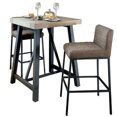 Luxury high bar table with faux leather stools featuring steel legs. Perfect with modern dining room furniture or as industrial kitchen table for design-led homes. Bar tables for kitchens - free UK delivery! Wood Bar Table, Solid Oak Dining Table, Luxury Dining Tables, Reclaimed Wood Dining Table, Solid Wood Table, Dining Sets, Leaf Table, Dining Room, High Bar Table