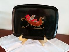 60s serving tray by Couroc of Monterey | Christmas Sleigh Sled tray | medium 9.5 x 12.5 | unusual inlay by TheHouseofHelga on Etsy