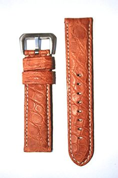 22mm Panerai Style Tan Matte Genuine Crocodile Watchband Made in Italy ** You can get additional details at the image link.