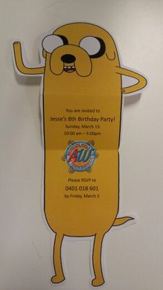 Adventure Time: Jake the dog party invite - open