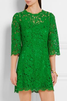 Green floral-lace  Concealed hook and zip fastening at back 46% cotton, 43% viscose, 11% polyamide; lining: 76% silk, 16% cotton, 4% elastane, 4% polyamide Dry clean Made in Italy