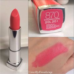 Maybelline Color Sensational Vivids in Shocking Coral. Maybelline Lipstick, Coral Lipstick, Lipstick Swatches, Lipstick Shades, Lipstick Colors, Lip Colors, Lipsticks, Color Sensational, Lipstick Collection
