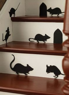Halloween mice silhouettes are less scary than rat silhouettes, which would just wig me out.