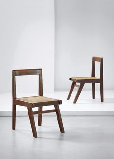 Pierre Jeanneret - Pair of chairs, model no. designed for the Himalayan Hostel cafeteria and private residencies, Chandigarh, circa Cane Furniture, Furniture Making, Vintage Furniture, Furniture Design, Old Chairs, Eames Chairs, Dining Chairs, Kitchen Office Spaces, Muebles Art Deco