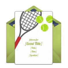 Customizable Tennis online invitations. Easy to personalize and send for a party. #punchbowl